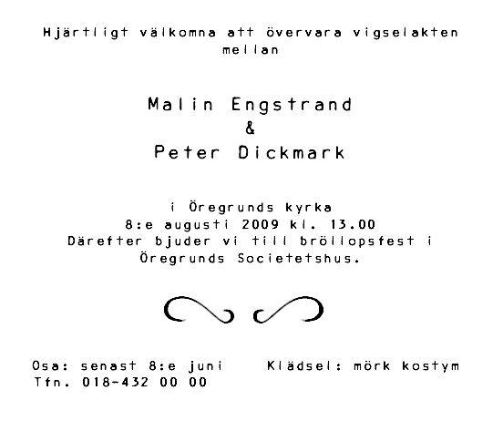 bröllopsinbjudan med informationsblad